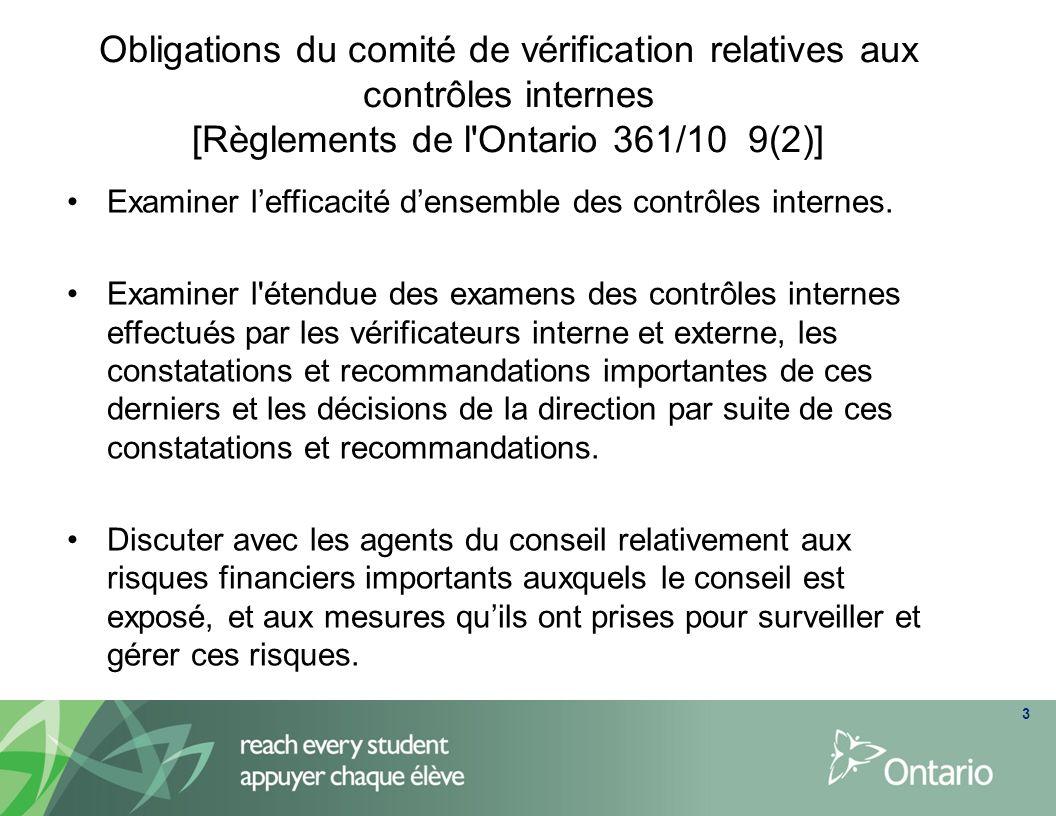 Obligations du comité de vérification relatives aux contrôles internes [Règlements de l Ontario 361/10 9(2)]